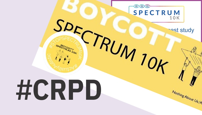Collage showing words such as CRPD and Boycott Spectrum 10K