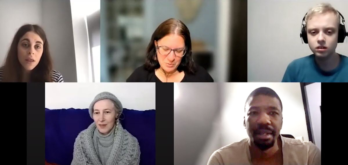 Screenshot of nonspeaking people in LISTEN and other members of the team